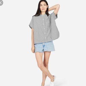 Everlane Striped Cotton Poplin Short Sleeve Shirt
